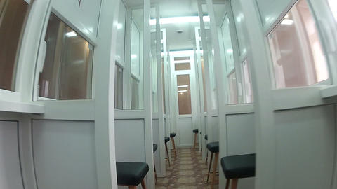 Room for short meetings in prison Stock Video Footage