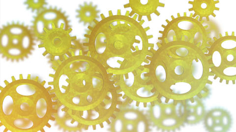 Gears wheels yellow Stock Video Footage