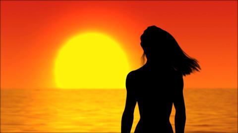Sunset Girl Stock Video Footage