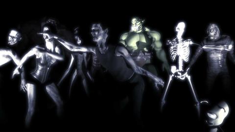 Dancing Monsters Stroboscope Stock Video Footage