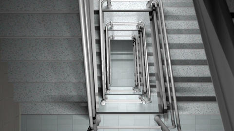 Looking Down A Staircase stock footage