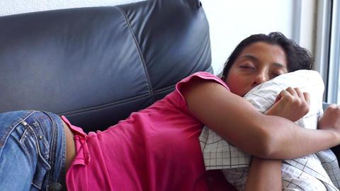 Sleeping on a Sofa Stock Video Footage