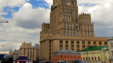 Ministry of Foreign Affairs buiding in Moscow Russ Stock Video Footage