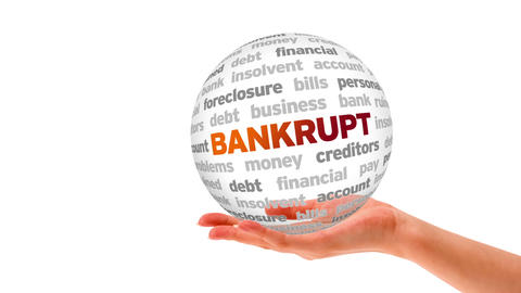 Bankrupt Word Sphere Stock Video Footage