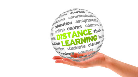Distance Learning Word Sphere stock footage