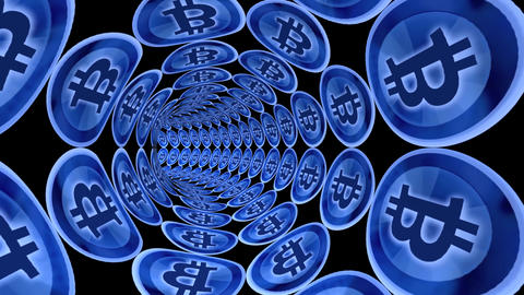 Through Bitcoin electronic money channel tunnel Stock Video Footage
