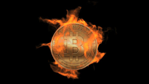 Burning bitcoin coin,fire electronic money Animation