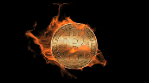 Burning bitcoin coin,fire electronic money Stock Video Footage