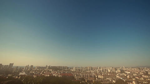 Overlooking panoramic urban in dust Stock Video Footage