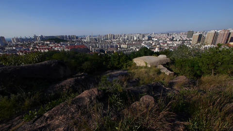 Overlooking panoramic city from hill Stock Video Footage