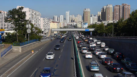 traffic on overpass,traffic jam time lapse Stock Video Footage