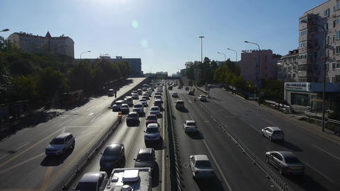 traffic on overpass,traffic jam Stock Video Footage