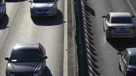 traffic on overpass,traffic jam Stock Video Footage