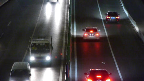 timelapse traffic jam at night Stock Video Footage