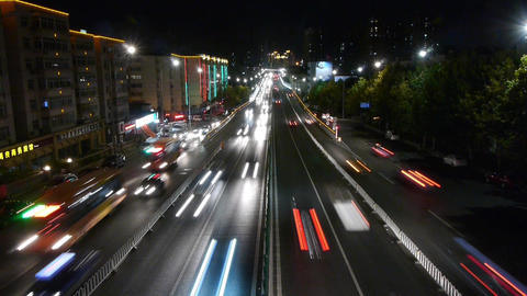 timelapse urban traffic at night Stock Video Footage