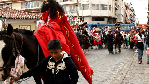 Festive parade in Cuenca Footage