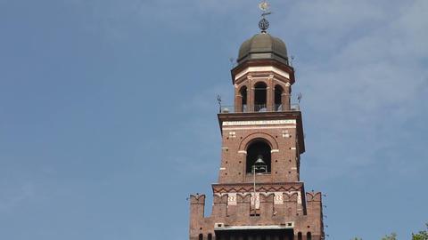 Main entrance of Castello Sforzesco in Milan Stock Video Footage