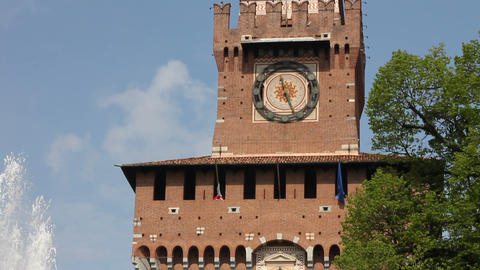 Main entrance of Castello Sforzesco in Milan Footage