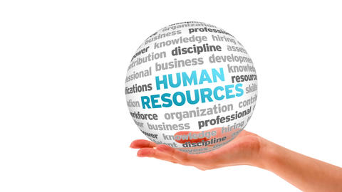 Human resources word sphere Stock Video Footage