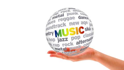 Music Word Sphere Stock Video Footage