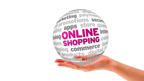 Online Shopping Word Sphere Stock Video Footage