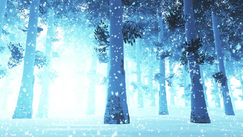 4 K Deep Winter Forest 2 snowing Animation