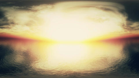 4 K Dramatic Sunset Over Endless Ocean Panoramic T Animation