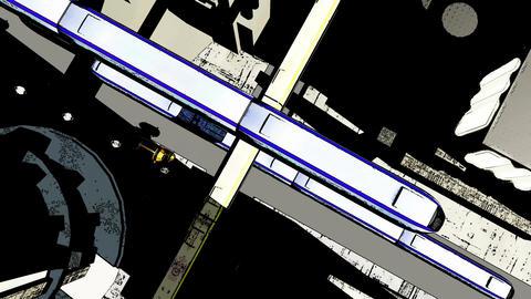 4 K Future City Traffic Comic Marvel 2 Stock Video Footage