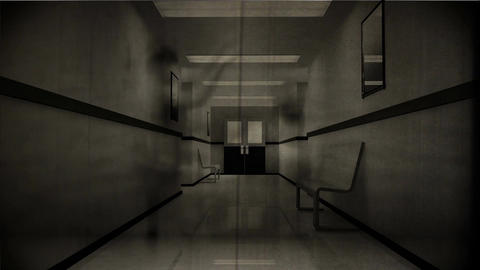 4 K Scary Hospital Corridor 4 vintage Animation
