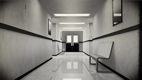 4 K Scary Hospital Corridor 4 vintage Stock Video Footage
