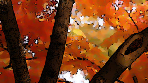 Beautiful Autumn Scene Comic Marvel 4 Stock Video Footage