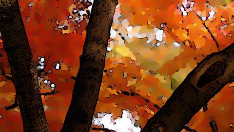 Beautiful Autumn Scene Comic Marvel 4 Stock Video Footage