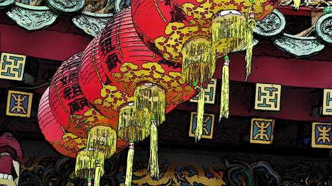 Chinese Lanterns Comic Marvel Stock Video Footage
