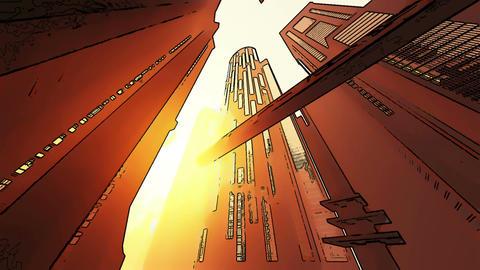 Future City Traffic Comic Marvel 3 Stock Video Footage