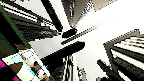 Future City Traffic Comic Marvel 7 Stock Video Footage