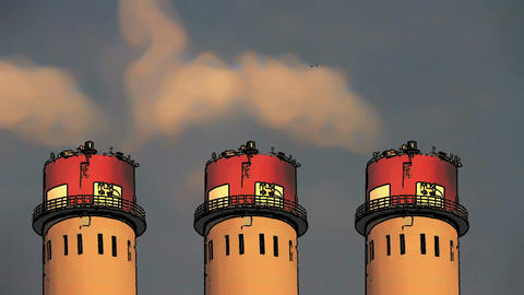 Industrial Scene Smoking Factory Towers Comic 2 Stock Video Footage