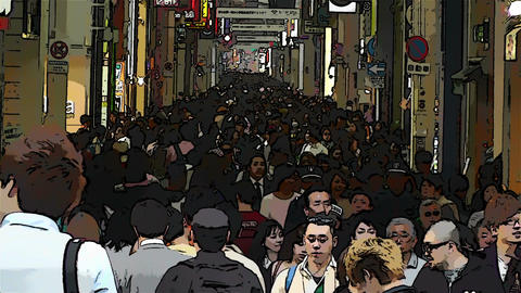 Japan Osaka Crowd Comic Marvel 1 Stock Video Footage