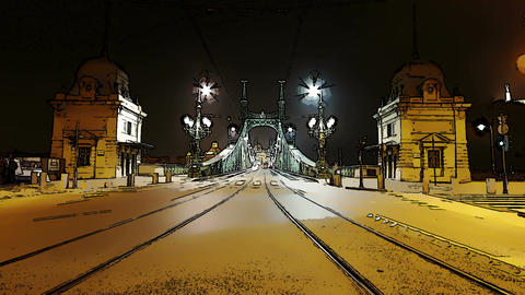 Liberty Bridge at Night Budapest Hungary Timelapse Stock Video Footage