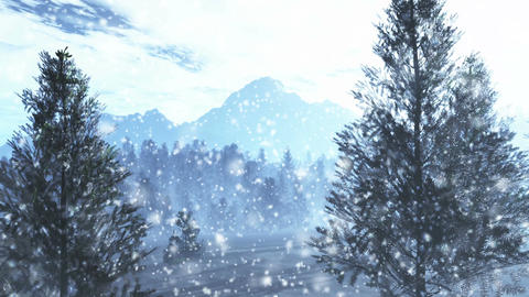 Mysterious Northern Forest Winter 4 snowing Animation