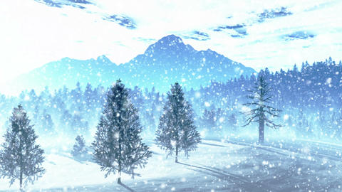 Mysterious Northern Forest Winter 5 snowing Animation