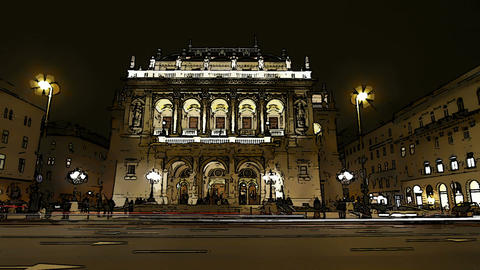Opera Budapest Hungary at Night Comic Marvel 1 Footage