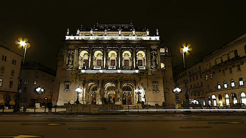 Opera Budapest Hungary at Night Comic Marvel 1 Stock Video Footage