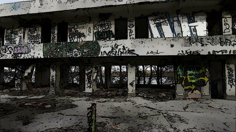 Scary Abandoned Building Domic Marvel 1 Stock Video Footage
