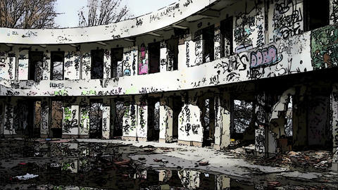 Scary Abandoned Building Domic Marvel 3 Stock Video Footage