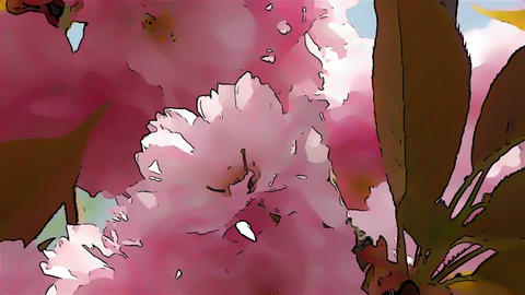 Springtime Blossoming Tree Comic Marvel 3 Stock Video Footage