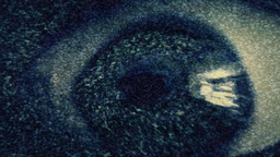 Eye Nightmare Distortion Green TV Static Noise stock footage