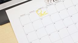 Job interview day written on calendar Stock Video Footage