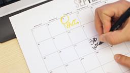 Job interview day written on calendar Footage