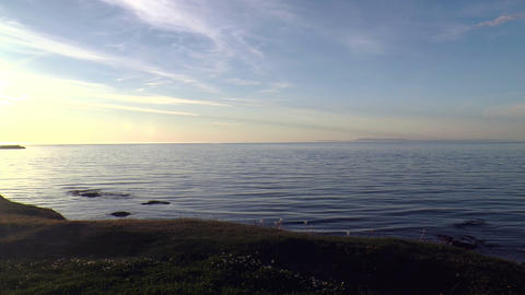 idyllic ocean in iceland at sunset Stock Video Footage