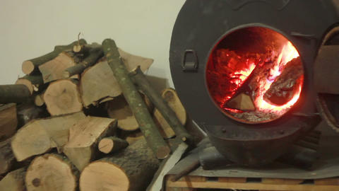Wood Burning Stove Stock Video Footage
